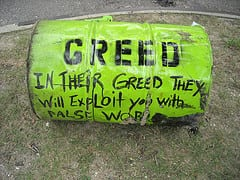 Greed - sign